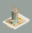 skyscraper construction isometric composition vector image vector image