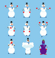 snowman set poses and motion fitter happy and vector image