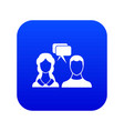 speech bubbles with two faces icon digital blue vector image vector image