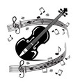 staff and notes with violin music black objects vector image vector image