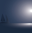 The yacht at the ocean against the coming sun vector image vector image