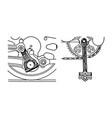 vintage engraving pedal design plan vector image vector image