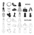women clothing monochrom icons in set collection vector image vector image