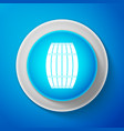 wooden barrel icon isolated on blue background vector image