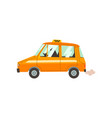 yellow taxi car with driver taxi service cartoon vector image vector image