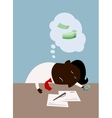 Cartoon black businessman dreaming about money vector image