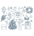 Set of hand drawn christmas elements vector image
