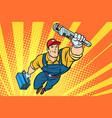 worker plumber superhero flying vector image