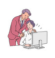 a male colleague or boss puts his hands on the vector image vector image