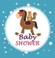 baby shower card with cute chipmunk in horse vector image vector image