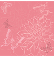 background with flowers and butterflies hand-drawn vector image vector image