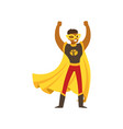 black male superhero in comics costume stands with vector image vector image