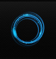 blue neon light glowing circle element realistic vector image