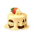 Cake with strawberry in white chocolate detailed vector image vector image