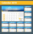 calendar for 2019 year design print template with vector image vector image