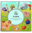 cartoon farm colorful composition vector image vector image