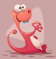 crazy big dinosaur with ice cream vector image