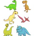 dinosaurs cartoon collection vector image vector image