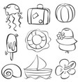 doodle of summer hand draw style vector image vector image
