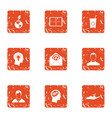 eco distribution icons set grunge style vector image vector image