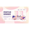 family dinner flat banner template vector image