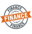 finance round grunge ribbon stamp vector image vector image