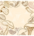 Frame of different hand drawn mushrooms in pastel vector image vector image