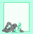frame with stone and emeralds poster border vector image