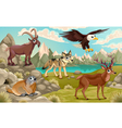 Funny animals in a mountain landscape vector image