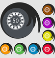 Gambling chips icon Symbols on eight colored vector image