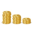 gold coins stacks golden finance icons vector image