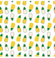 hand drawn pineapple cartoon pattern seamless vector image