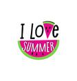 inscription hello summer and watermelon slice vector image