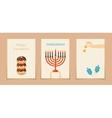 Jewish holiday hanukkah three cards vector image vector image