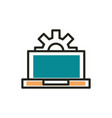 laptop settings web development icon line and fill vector image