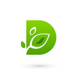 Letter D eco leaves logo icon design template vector image vector image