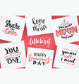 lettering for valentines day quotes about love vector image vector image