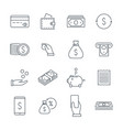 linear money icons set money and coins a bag of vector image vector image