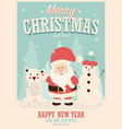 merry christmas card with santa claus snowman vector image vector image