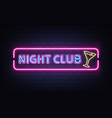 night club cocktail bar neon signboard vector image vector image