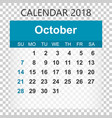 october 2018 calendar calendar sticker design vector image vector image