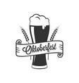 oktoberfest beer glass logo on white background vector image vector image
