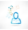 Person with music grunge icon vector image vector image