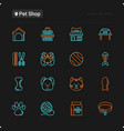 pet shop thin line icons set vector image