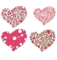 set hearts red valentine hearts in floral style vector image