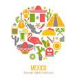 set mexico travel symbols mexican flat vector image