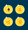 set of icons litecoin ripple ethereum bitcoin vector image
