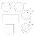 set of simple drawing shapes with size vector image vector image