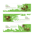 Set of tea vintage banners Hand drawn sketch vector image vector image