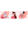 set podcast recording process vector image